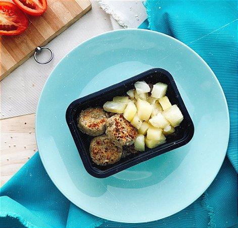 Almondegas de Lentilha com chutney de abacaxi e Arroz integral 300g