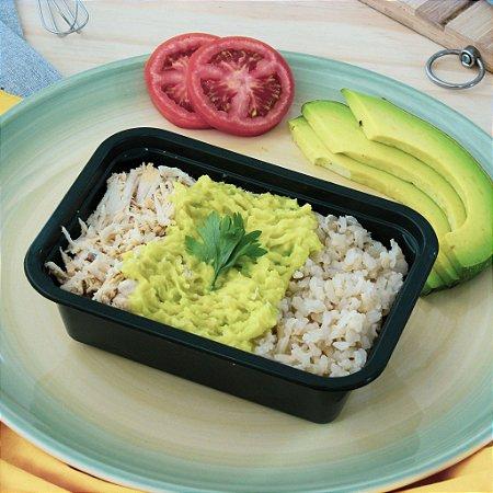 Purê de Abacate com frango desfiado e arroz integral 320g