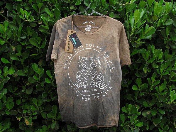 Camiseta Masculina John John Marrom Marmorizada
