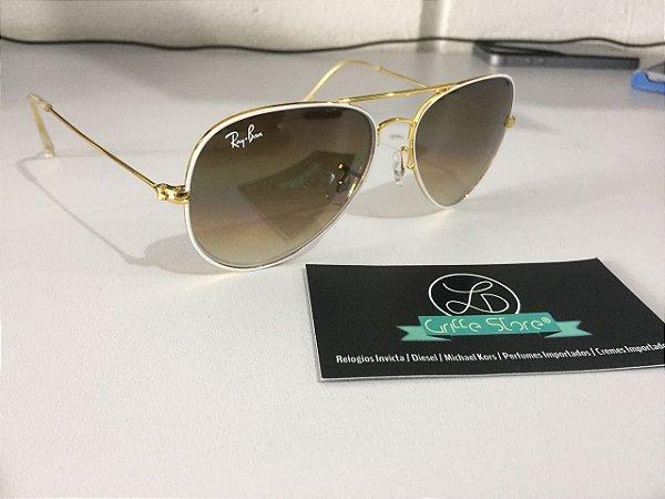Óculos de Sol Ray Ban Aviador Armação Branca Lente Marrom Degrade
