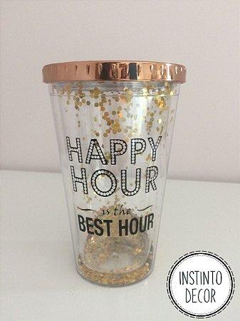 Copo com canudo e glitter com tampa Happy Hour Best Hour 450ml