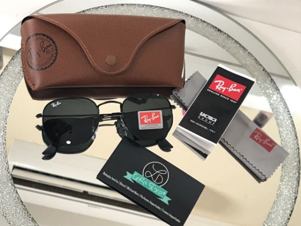 Óculos de Sol Ray Ban Hexagonal Preto primeira linha premium RB 3548