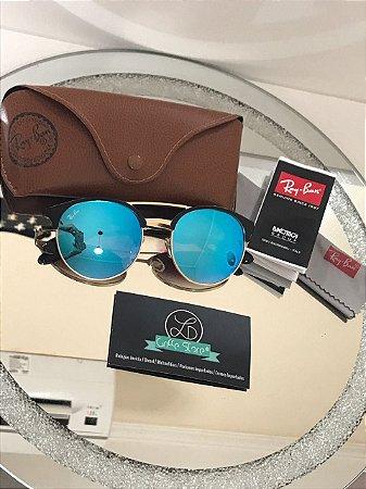 Óculos de Sol Ray Ban ClubRound Azul Espelhado RB 3545