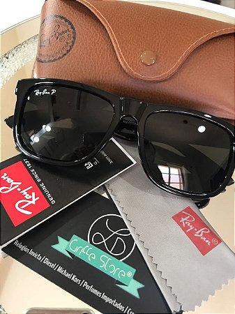 Óculos de Sol Ray Ban Justin Brilhante Lente Preta Polarizado RB 4165