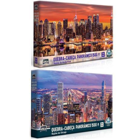 Kit 2 Quebra cabeças Panorâmico Skyline Chicago e Manhatthan