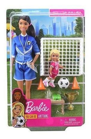 Boneca Barbie Playset Jogadora De Futebol Da Mattel Morena