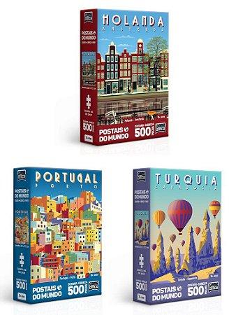 Kit 3 Quebra-Cabeça Postais  500 Peças Game Office