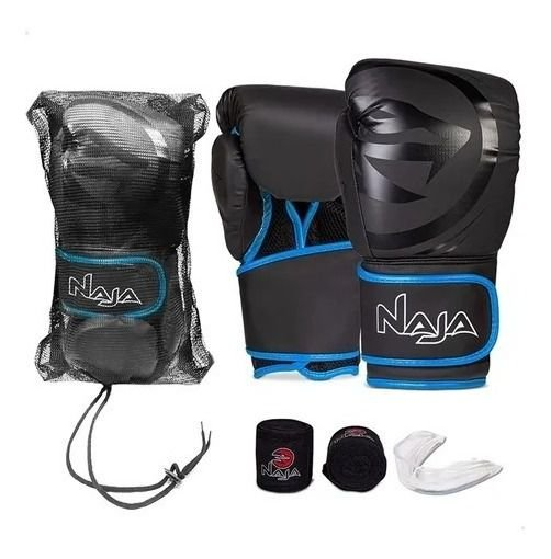 Kit Muay Thai Boxe Naja Luva Preta e Azul 12 OZ