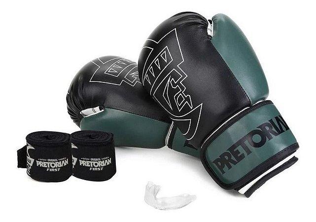 Kit Muay Thai Boxe Pretorian Luva First  Pta E Verde 10 Oz