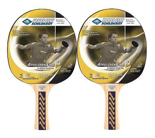 Kit 2 Raquetes Tênis De Mesa Ping Pong Donic Appelgren 500