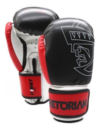 Luva Boxe Muay Thai Pretorian First Preta Vermelha 14 0z