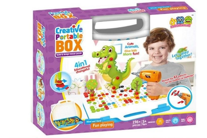 Blocos de Montar Creative Portable Box 198 Peças 4 Em 1
