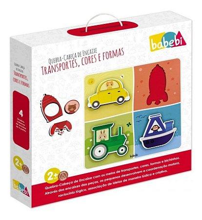 Quebra Cabeça De Encaixe Transportes, Cores e Formas Babebi