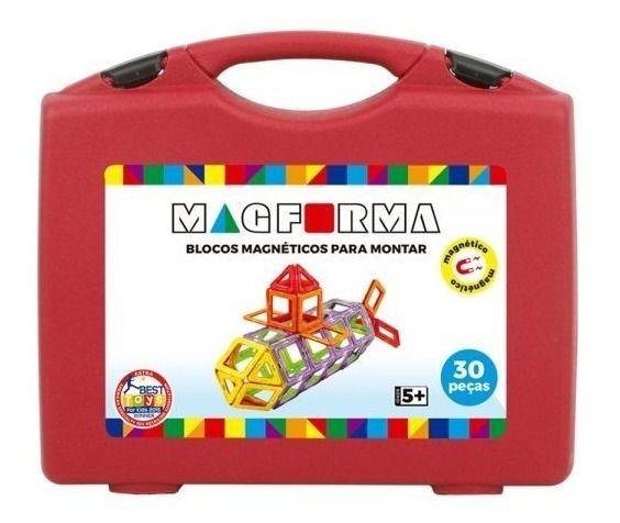 Brinquedo Educativo Magnético Mag Forma Maleta Vazado 30 Pç