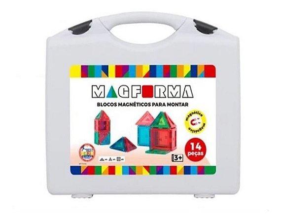 Brinquedo Educativo Magnético Magforma Maleta 14 Pç