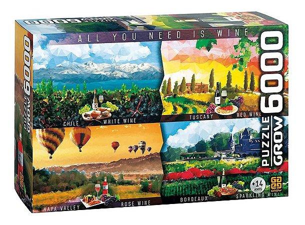 Quebra Cabeça Puzzle Vinhos Do Mundo P6000 Grow