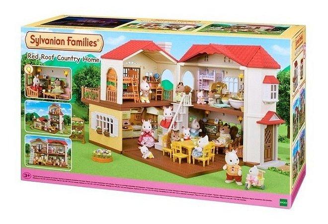 Casa Telhado Vermelho Com Luzes Sylvanian Families