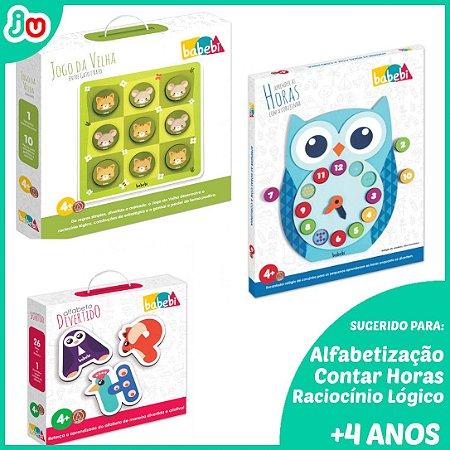 Kit Brinquedos Educativos de Madeira p/ +4 anos - Babebi