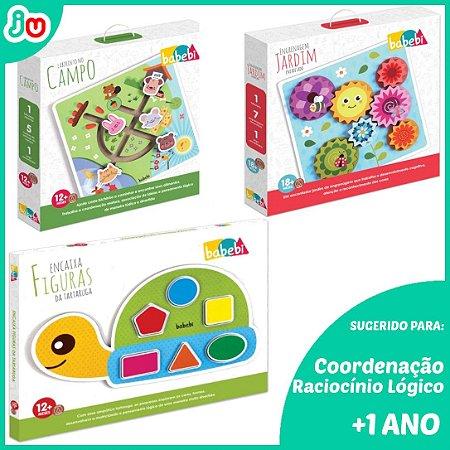 Kit Brinquedos Educativos de Madeira p/ +1 ano - Babebi