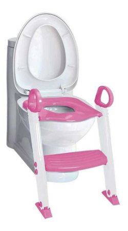 Redutor De Assento Infantil Com  Escada Degrau Rosa - Clingo