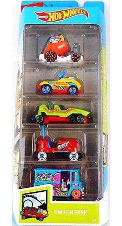 Hot Wheels Conjunto Com 5 Carrinhos Fun Park GHP49