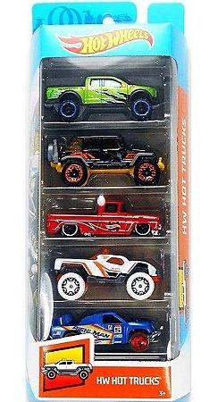 Hot Wheels Conjunto Com 5 Carrinhos Hot Trucks GHP51