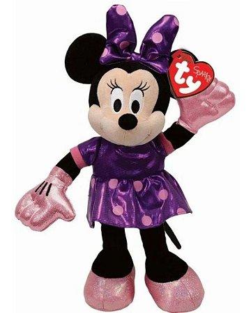 Pelúcia Minnie Mouse Vestido Roxo Ty Beanie Disney