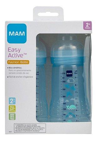 Kit De Mamadeira Easy Active 270ml Mam 4847- Dupla Azul