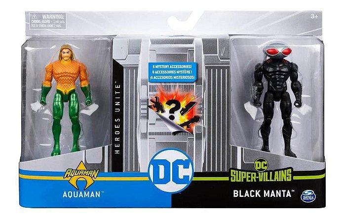 Figuras De 10 Cm Com Vilão Dc Aquaman/black Manta