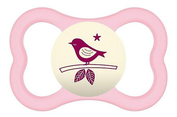 Chupeta Mam Animais Pássaro Air Night 6+ Rosa