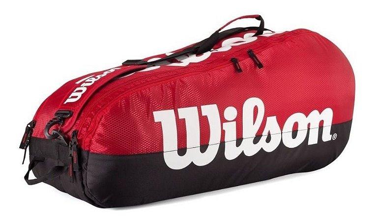Raqueteira Wilson Esp Team X6 Preta E Vermelha