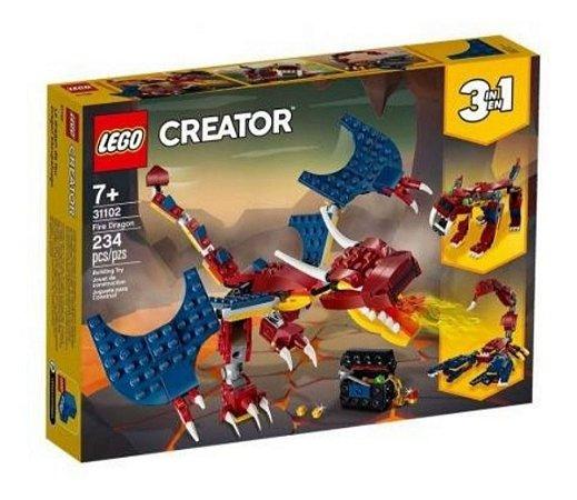Lego 31102 Creator 3 Em 1 Dragão De Fogo 234 Peças