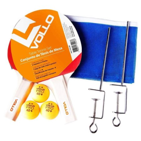 Kit Tênis De Mesa Vollo 2 Raq 3 Bolas 1 Rede