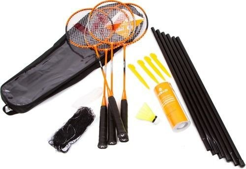 Kit Badminton Vollo 4 Raq. 3 Petecas De Nylon Rede E Suporte