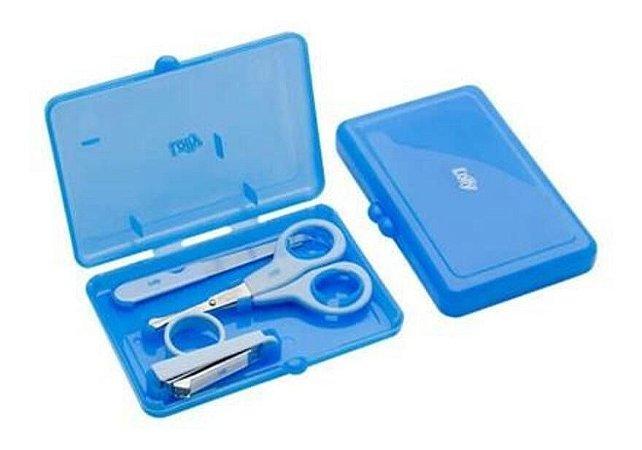 Kit Manicure Infantil Com Estojo  Azul Lolly