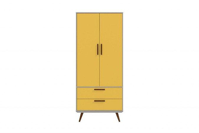 Roupeiro 2 Portas Retrô - Cinza / Amarelo com Eco Wood