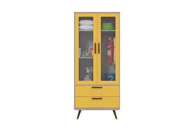 Roupeiro Glass 2 Portas Retrô - Amarelo com Eco Wood