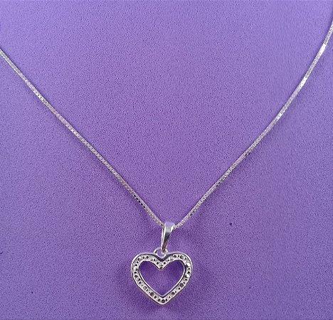 b79942a62e4 Colar de prata feminina - Com Pingente Coração em Prata