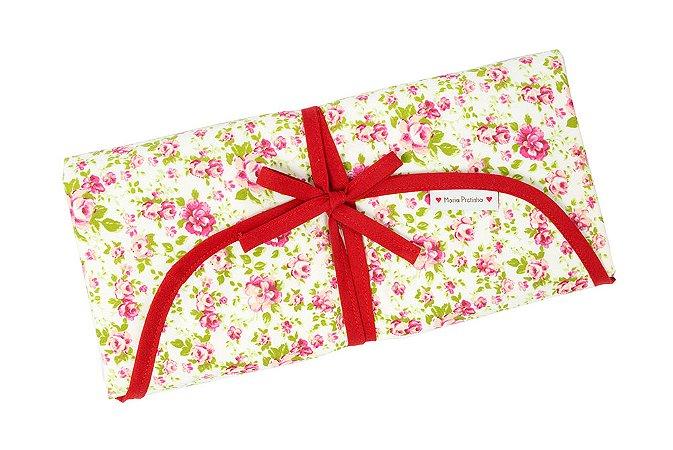 Trocador Portátil em Algodão e Nylon Soft - Floral com Vermelho