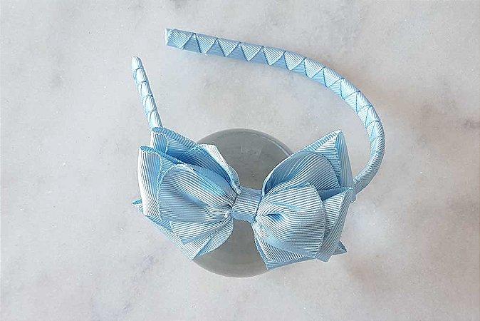 Maxi Laço Azul na tiara forrada