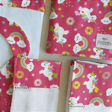Kit de Unicórnios Rosa com 5 peças (babador, paninho, manta, fralda de ombro e toalha fralda)