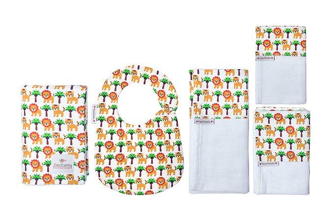 Kit Leãozinho com 5 peças (babador, paninho, manta, fralda de ombro e toalha fralda)