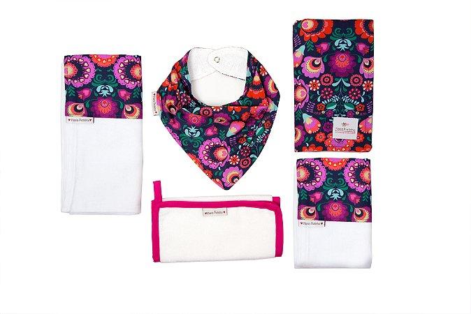 Kit Floral Magenta com 5 peças (babador, paninho, manta, fralda de ombro e toalha fralda)