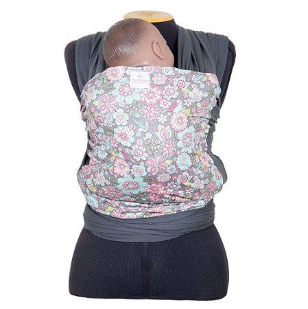 Wrap Sling em Malha de Algodão Cinza Chumbo com Frente Floral