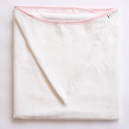 Toalha de Banho com Capuz - Viés Rosa