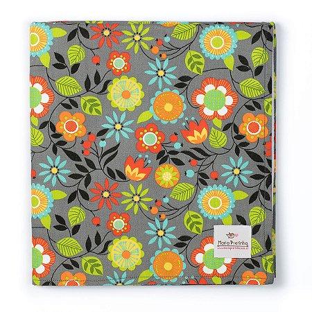 Manta Cinza com Flores Coloridas