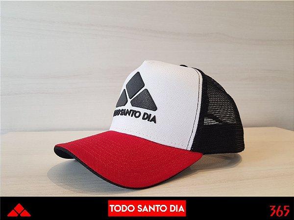 BONÉ TRUCKER ABA CURVADA WHITE/RED/BLACK mod 0002
