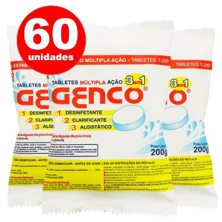 Pastilha de Cloro - 3 em 1 - Genco - 200 g - 60 Un + 10 Grátis