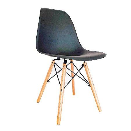 Cadeira Charles Eames Eiffel Base Madeira - Preto