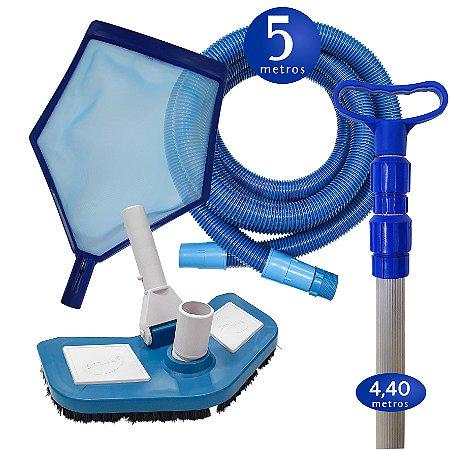 Kit Limpeza Manutenção para Piscinas Alvenaria Fibra Vinil - 5 M